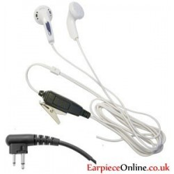WHITE EARPHONE BUD STYLE EARPIECE FOR THE MOTOROLA 2-PIN RADIO